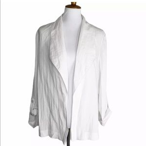 Chico's Open Front Jacket Top Roll Tab Sleeve
